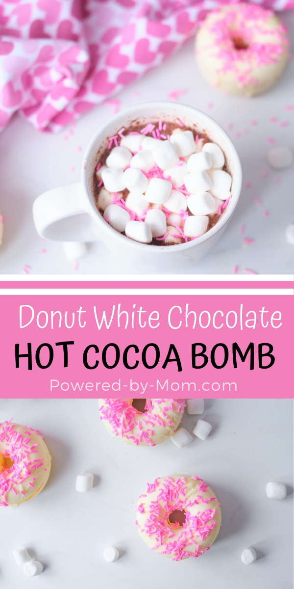 Hot cocoa bombs have been very popular so we did one with a twist. A white chocolate hot cocoa bomb shaped as a donut! Yummy & fun.