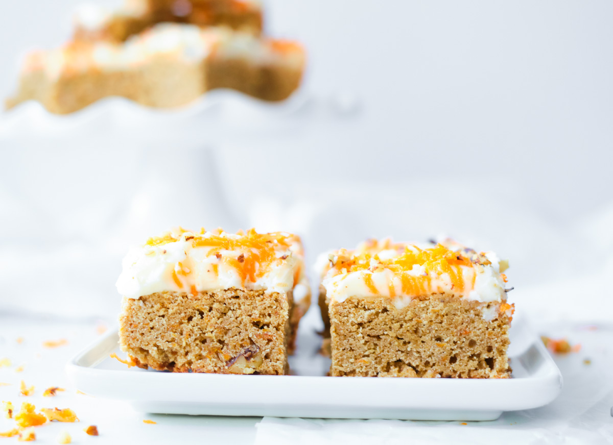 two carrot cake blondies squares
