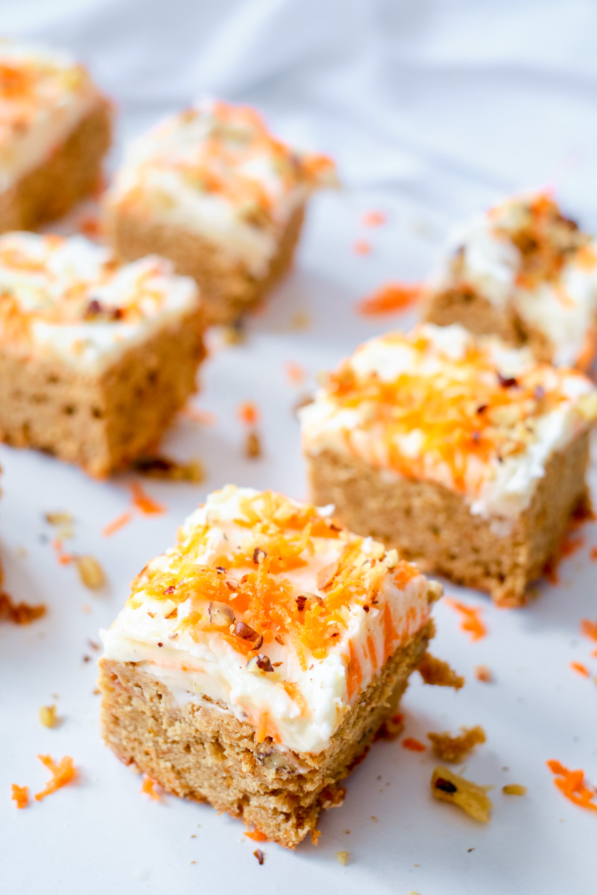 carrot cake blondies squares on a plate
