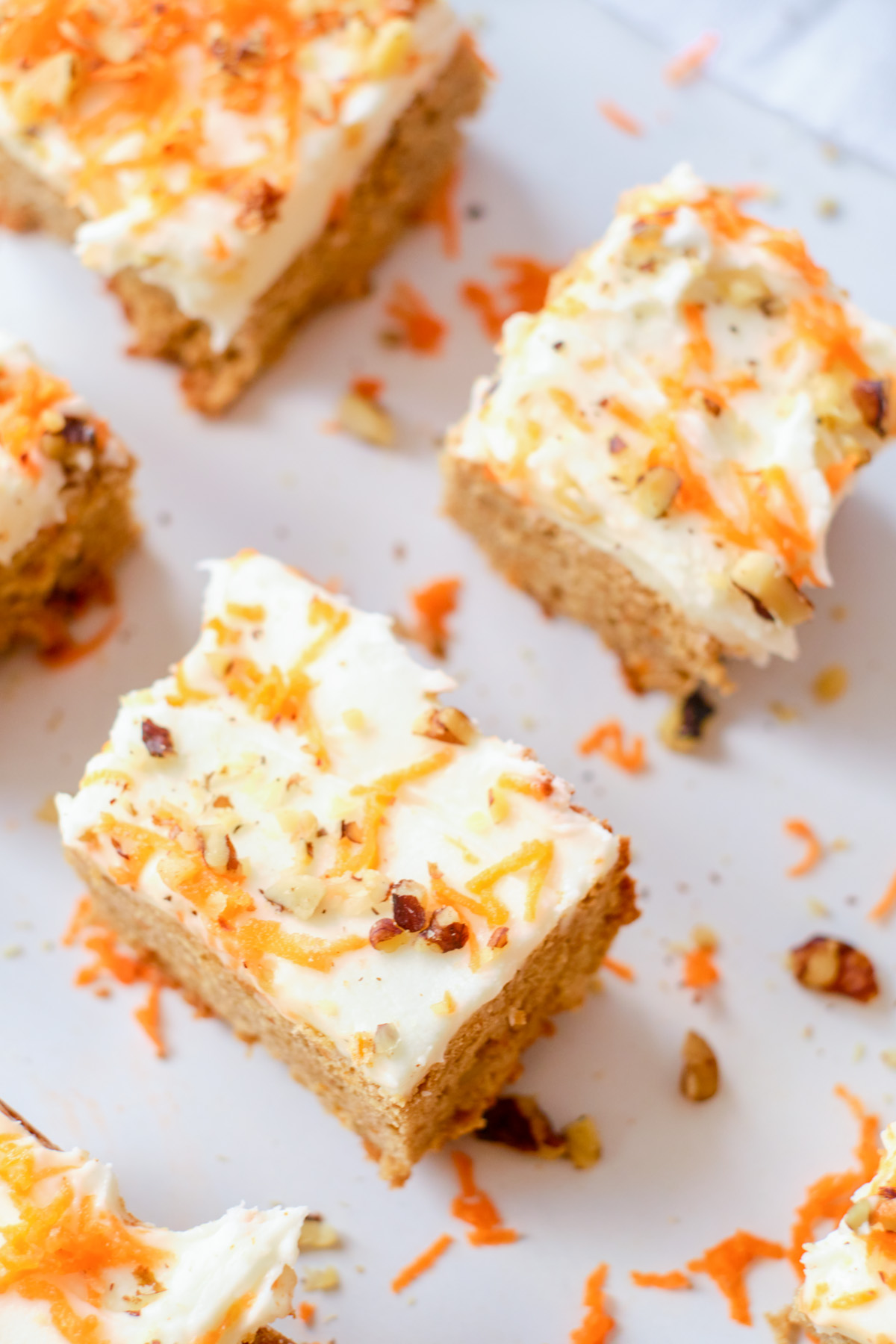 carrot cake blondies squares top down view