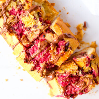 Raspberry Chocolate Bread Pudding Baguette