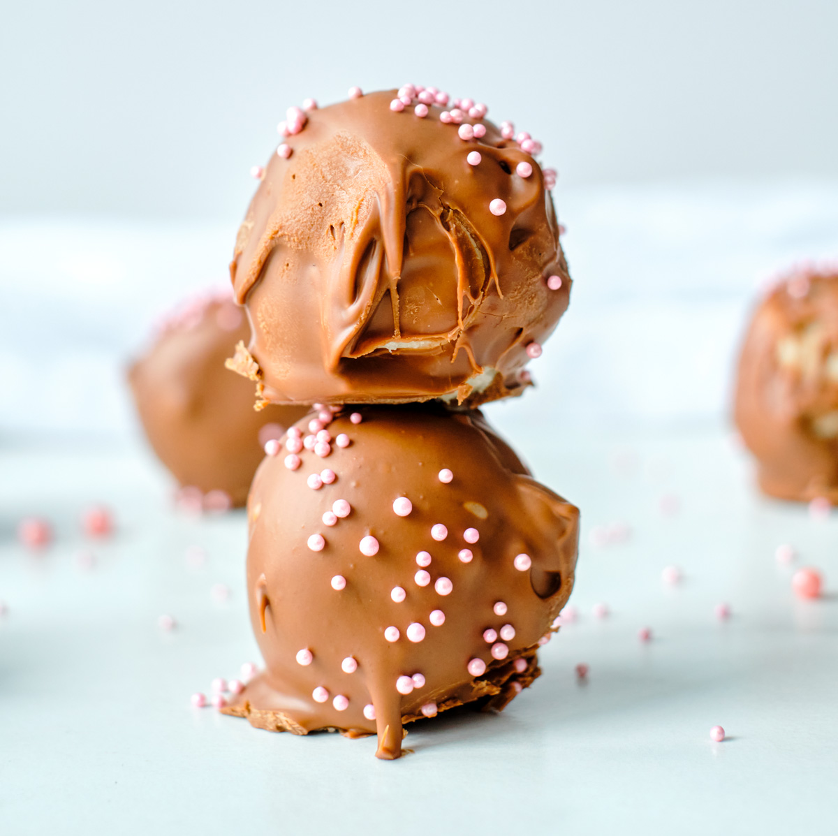 cookie dough truffles stacked