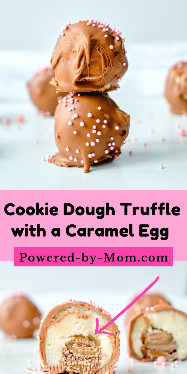 This Chocolate Coated Cookie Dough Truffle with caramel egg inside makes a delicious treat that uses store-bought ready to eat cookie dough.