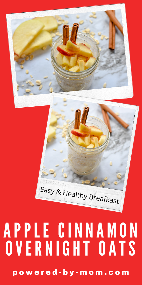 Apple Cinnamon Overnight Oats are the perfect cinnamon roll oatmeal to start your day! Healthy and delicious everyone loves this easy breakfast!