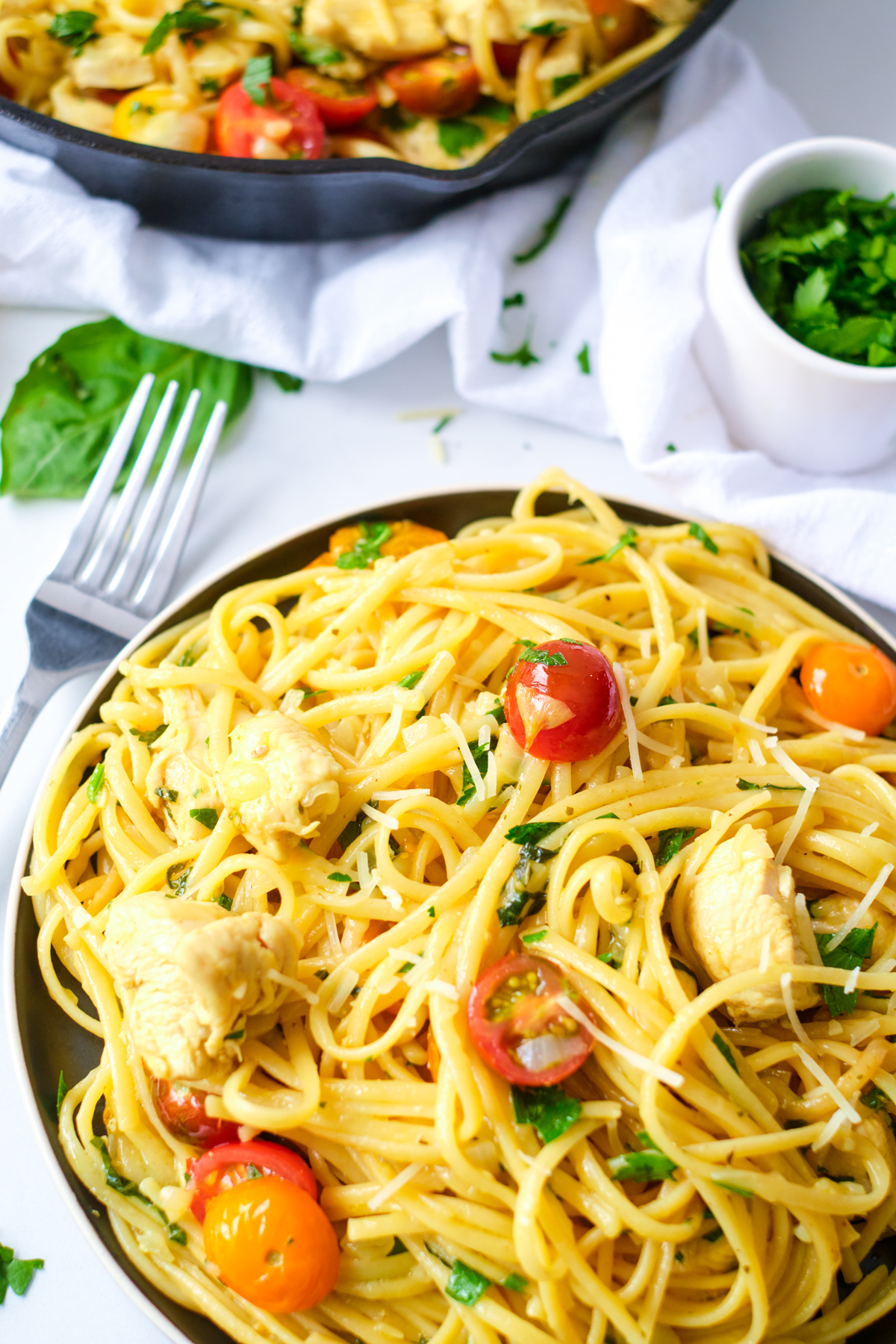 plated chicken pasta