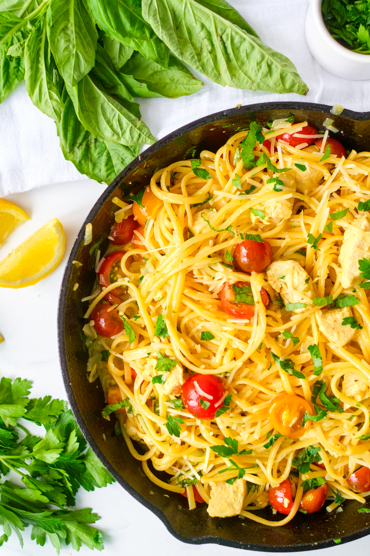 chicken scampi in a cast iron pan