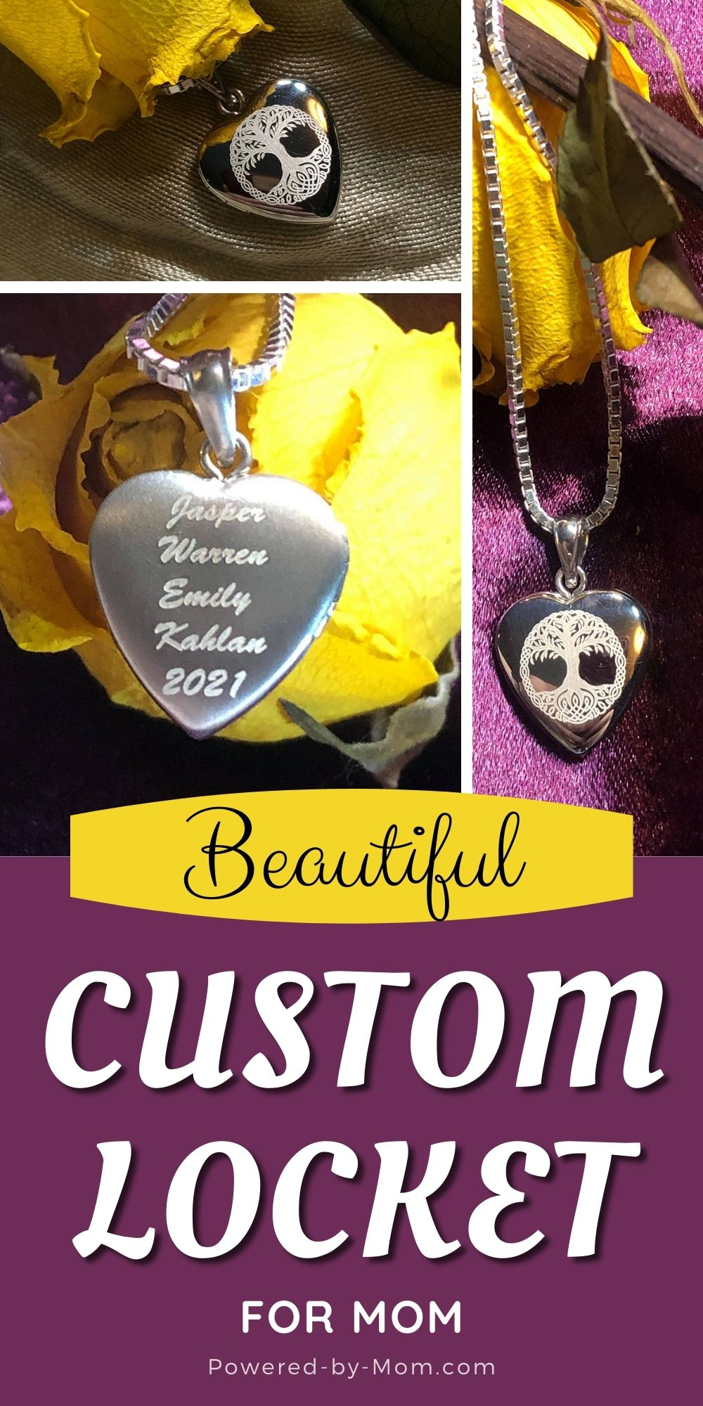 This beautiful Pictures on Gold build your own sterling silver locket necklace for mom is completely one of a kind.