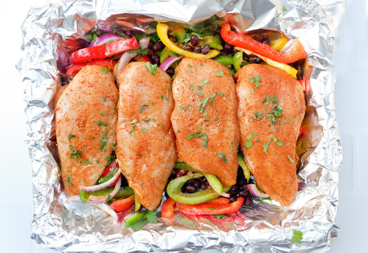chicken fajita foil packets ingredients in the foil