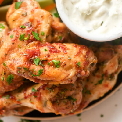 Air Fryer Parmesan Chicken Wings with Rosemary