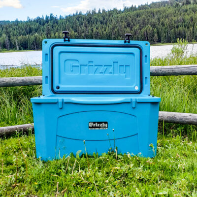 grizzly cooler blue, open