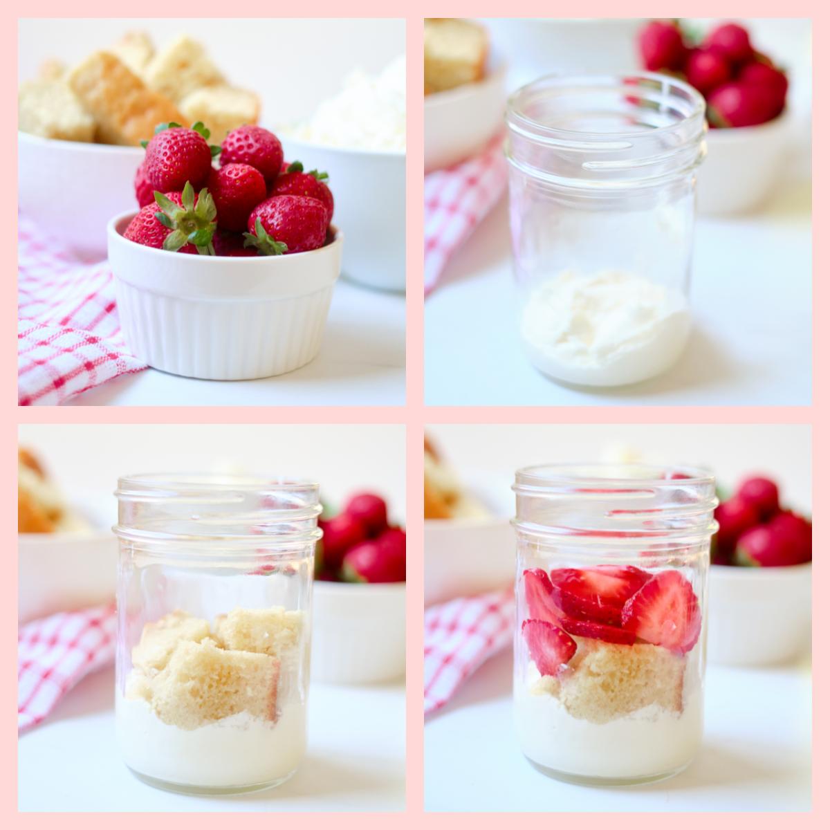 strawberry shortcake in a jar ingredients, mason jar and layering steps