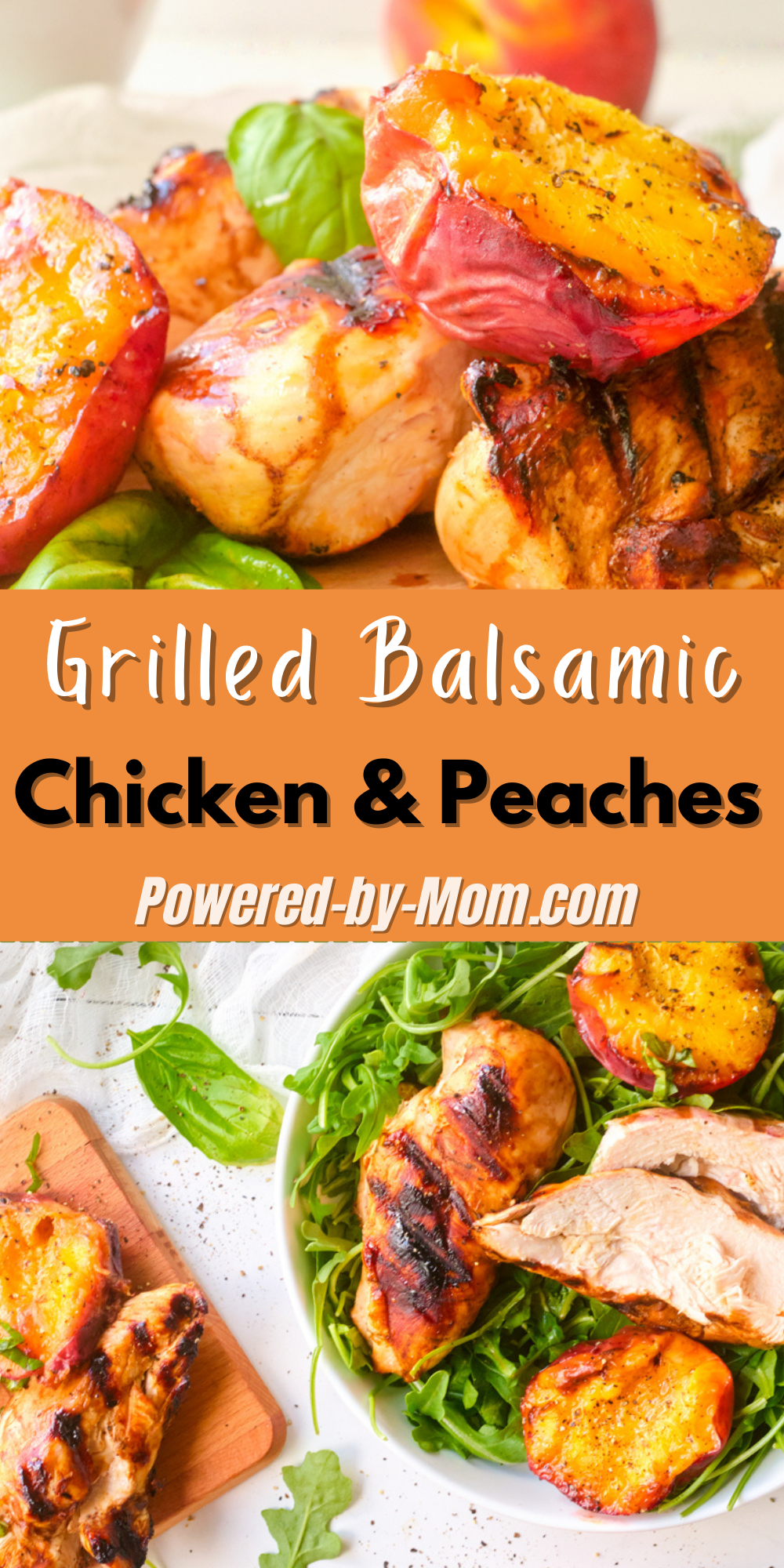 No oven needed. Make this grilled balsamic chicken and peaches on the BBQ and enjoy the leftovers cold on a salad or all by itself.
