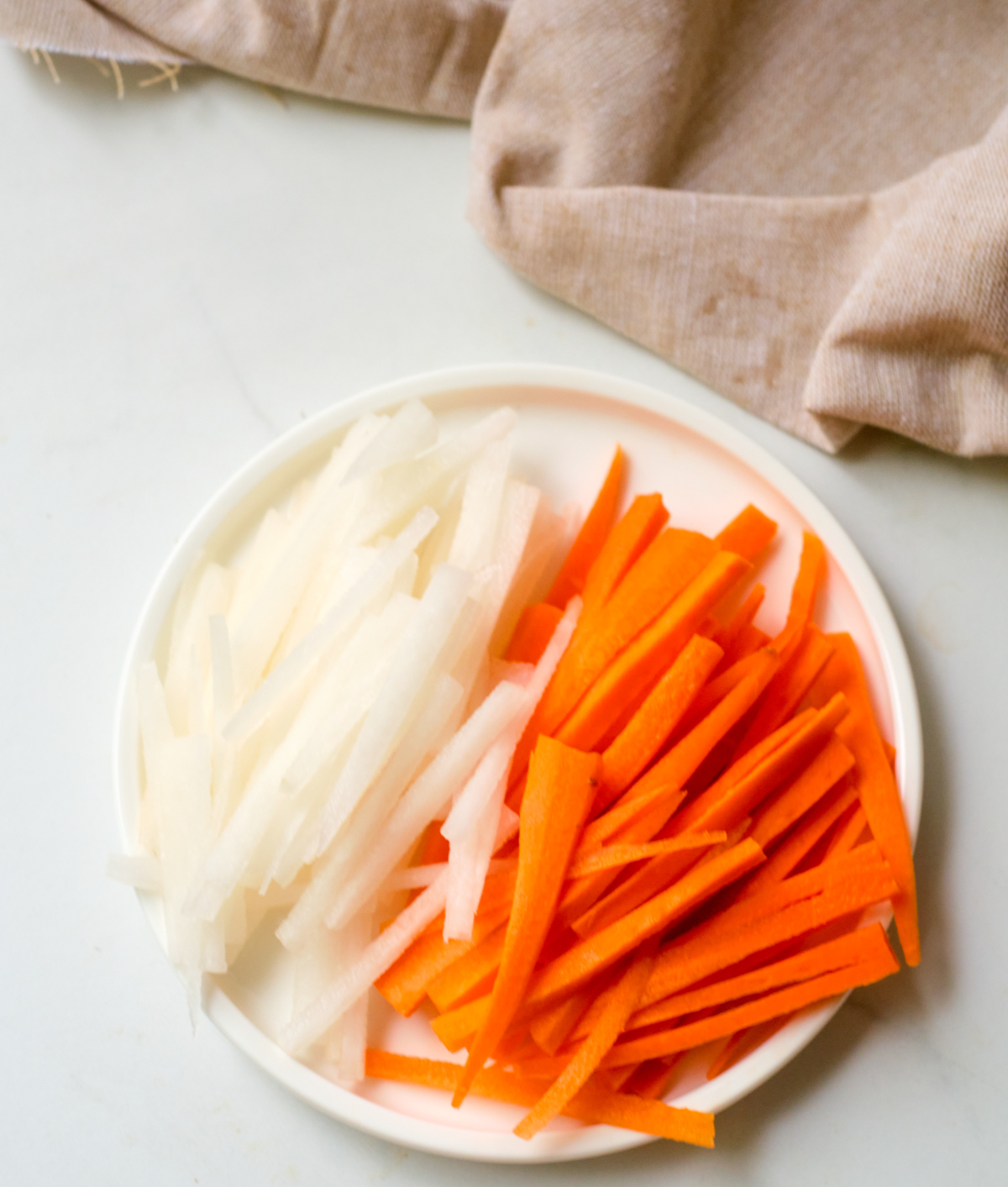 julienned carrots and daikon