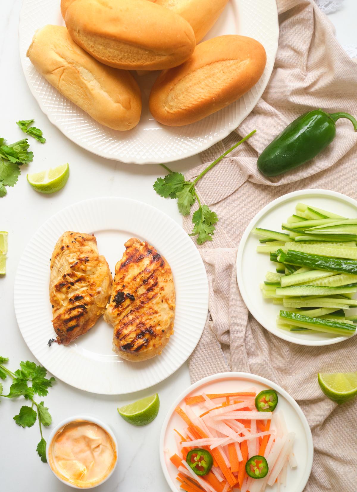 lemongrass chicken banh mi ingredients