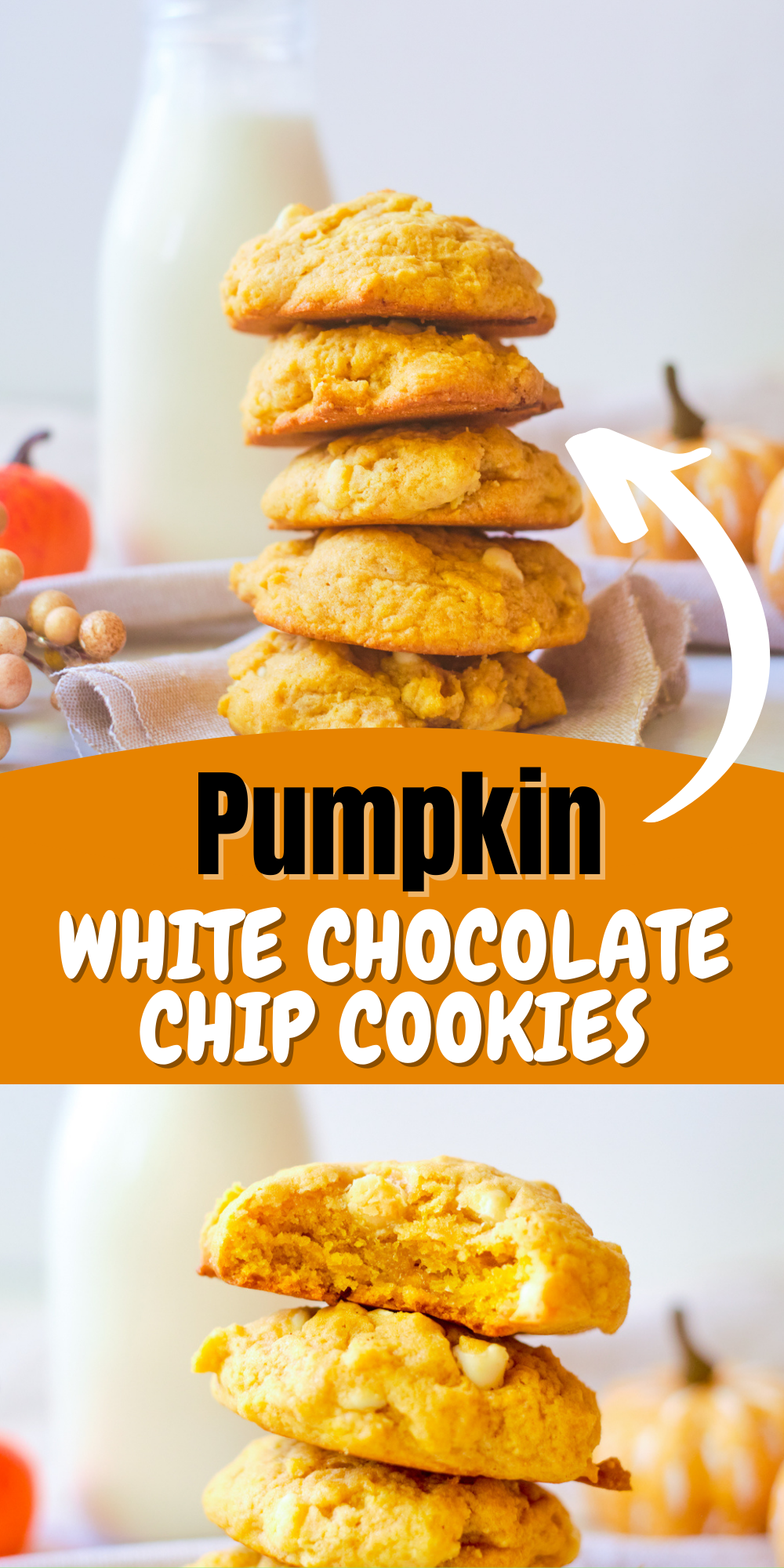 These Pumpkin White Chocolate Chip Cookies are simply perfect for fall and winter and are so yummy with a cup of java, tea or hot chocolate.